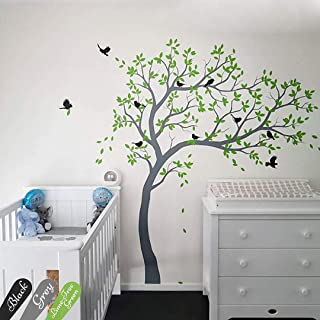 White tree decal Large nursery tree decals with birds Unisex white tree decals Wall mural removable vinyl wall sticker Wall tattoos 032R