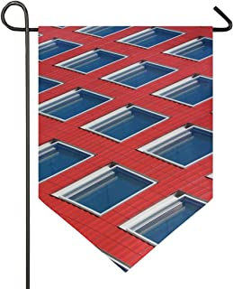 Double Sided Modern for Home Decoration Garden Yard Flag Architecture Texture Window Roof Building Pattern Beautiful 12x18.5 Inches