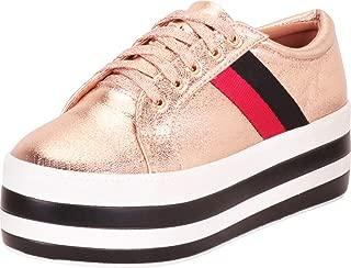 Cambridge Select Women's Retro 90s Low Top Chunky Striped Platform Flatform Fashion Sneaker