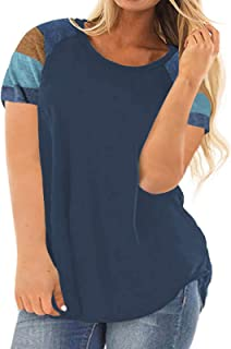 Womens Plus Size Raglan Short Sleeve T Shirt Color Block...