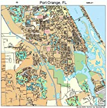 Large Street & Road Map of Port Orange, Florida FL - Printed poster size wall atlas of your home town