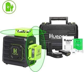 Nivel Láser 360, Huepar Nivel Laser Verde con MODO DE PULSO, Autonivelante Líneas Cruzadas, 2x 360 Líneas Vertical/Horizontal Conmutables, con USB Recargable Batería y Base Giratoria Magnética,B02CG