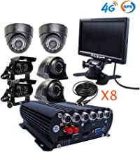 JOINLGO 8 Channel Mobile Vehicle Car DVR Camera Kit GPS 4G 1080N AHD HDD MDVR Video Recorder Real-time Monitor on PC Phone with 6 2.0MP Dome Side Rear Back View IR Car Cameras 7 inches VGA Monitor