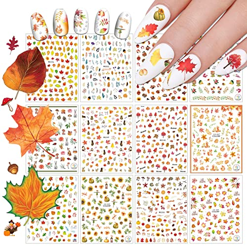 EBANKU 3D Selbstklebend Nagel Sticker, 12 Blatt Nail Art Sticker DIY Herbst Ahornblatt Tier Selbstklebende Fingernagel Sticker Nail Art Dekoration für DIY Nagelspitzen Decals