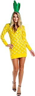 Women's Pineapple Costume Dress w/Pockets for Halloween - Pineapple Onesie for Women