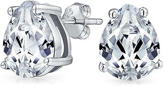 Pear Shape Cubic Zirconia Brilliant Cut AAA CZ Solitaire Teardrop Stud Earrings For Women Yellow 14K Gold Plated .925 Ster...