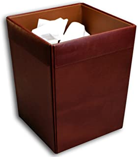 Dacasso Mocha Leather Square Waste Basket