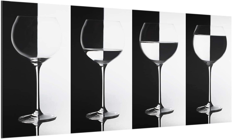 Bilderwelten Glas Spritzschutz Herd Weingl/äser Schwarz/&Wei/ß 40cm x 80cm Querformat 1:2