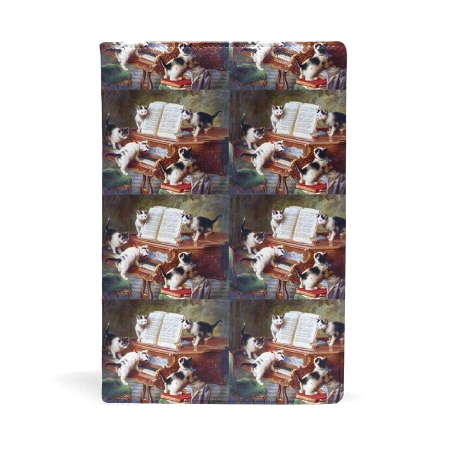 機関車立証する教室子猫たち 音楽 ピアノ ブックカバー 文庫 a5 皮革 おしゃれ 文庫本カバー 資料 収納入れ オフィス用品 読書 雑貨 プレゼント耐久性に優れ