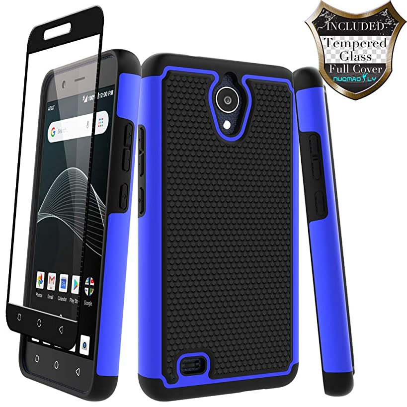 AT&T AXIA Case (QS5509A), Cricket Vision Case with [Tempered Glass Screen Protector] Nuomaofly Rugged Heavy Duty Shock-Absorption Protection (Blue)