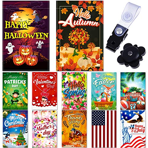 """Seasonal Garden Flag Set of 12 Pack - 12""""x 18"""" for Double-Sided Outdoors Lawn Decor - Polyester Premium Assortment Holiday Yard Flags Set and Festive Small Garden Flag to Bright Up Your 12 Months"""