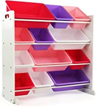 Tot Tutors Kids' Toy Storage Organizer with 12 Plastic Bins, White/Pink & Purple (Friends Collection)