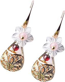 Toyvian 1 Pair Retro Dangle Earrings FlowerBeaded Drop Earrings Chinese Earrings Jewelry for Womens Wedding Bride Bridesma...