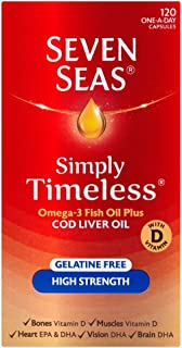 Seven Seas Cod Liver Oil High Strength With Omega 3 Plus Vitamins D & E 120 Capsules