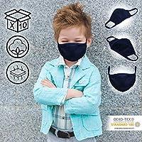 Jago® Mascherine Lavabili - Confezione di 10 Pezzi, per Bambini da 3-8 Anni, Doppio Strato e Tasca per Filtro, Colore a Scelta - Mascherine in Tessuto, Maschera in Cotone, Riutilizzabile (Blu scuro) #1