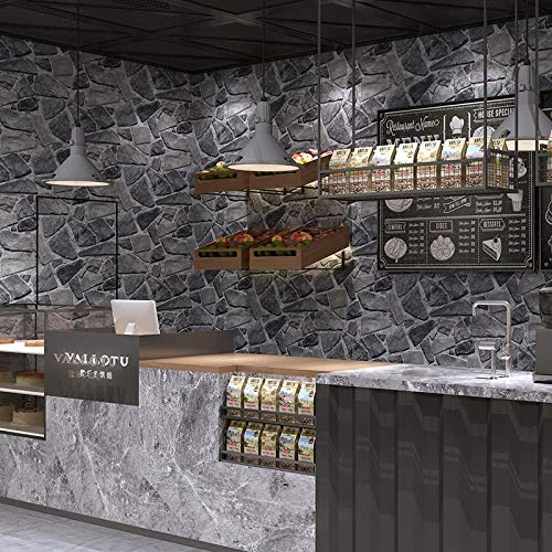 Grade Lining Paper Plain,Retro 3D Wallpaper, Stone Wallpaper Film Wall Decoration Office Corridor Landscape-Gray-Black