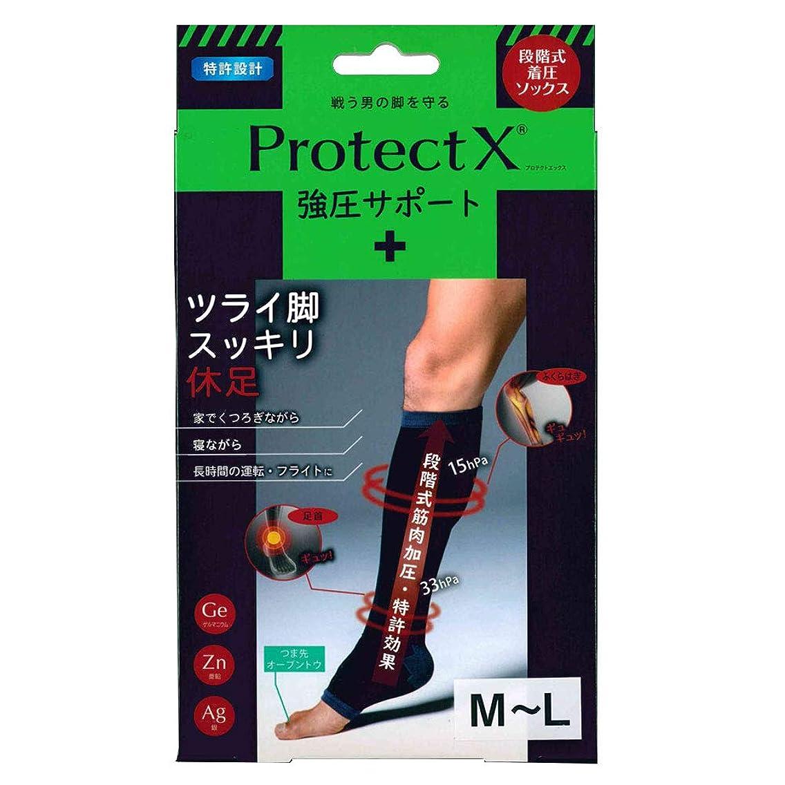 ストライクしなければならない風刺Protect X(プロテクトエックス) 強圧サポート オープントゥ着圧ソックス 膝下 (膝下M-L)
