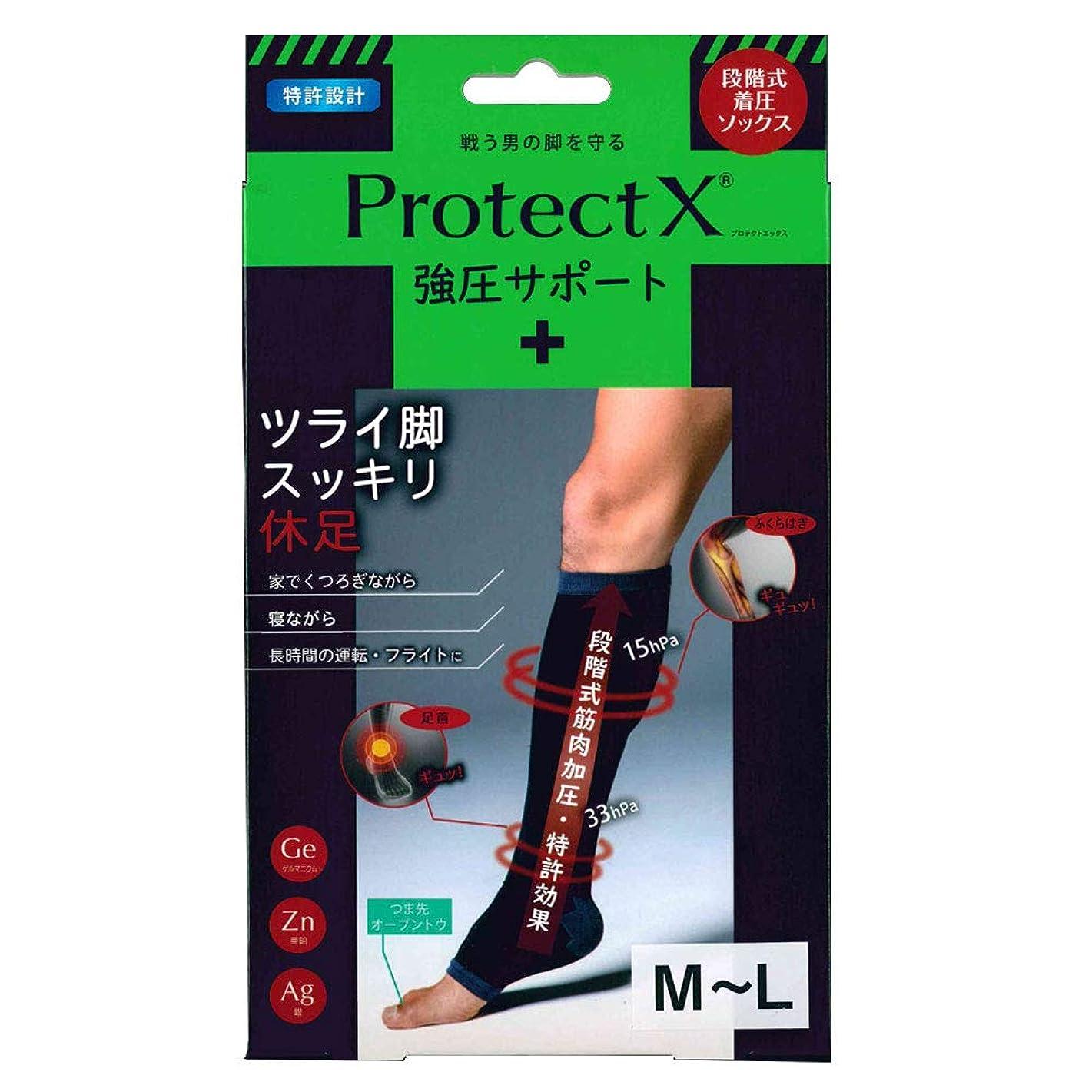 牛汚物筋肉のProtect X(プロテクトエックス) 強圧サポート オープントゥ着圧ソックス 膝下 (膝下M-L)