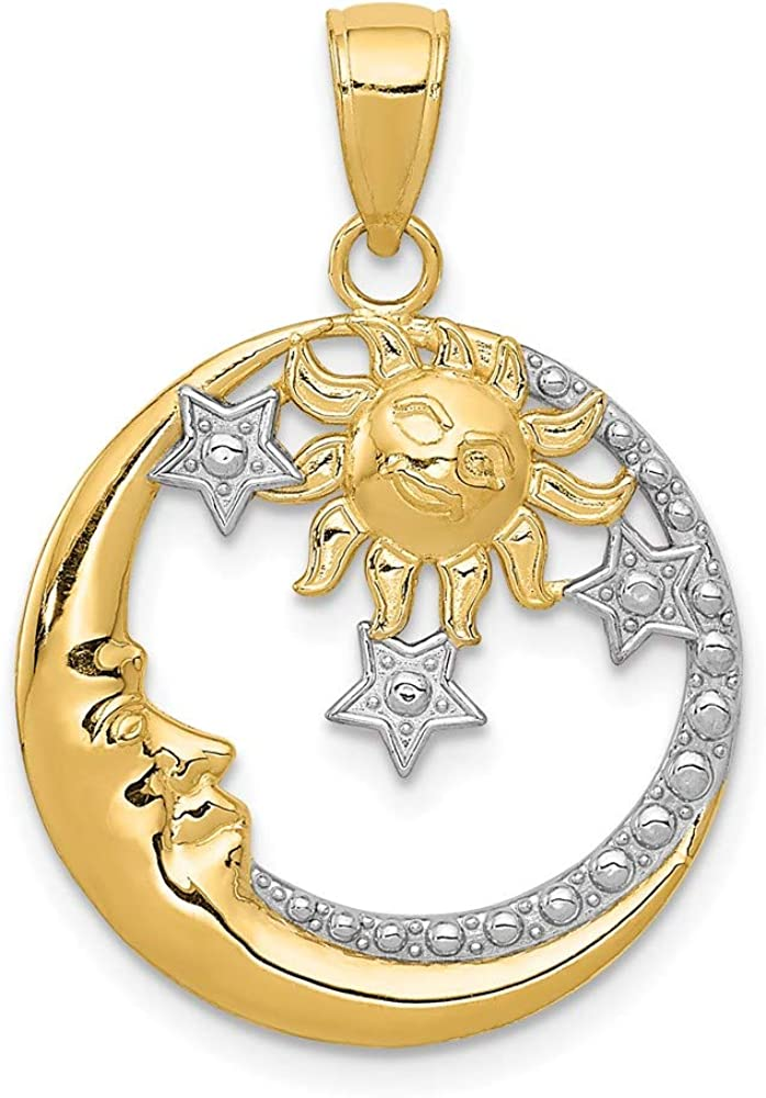 14k Yellow Gold Moon Stars Sun Pendant Charm Necklace Celestial Fine Jewelry For Women Gifts For Her