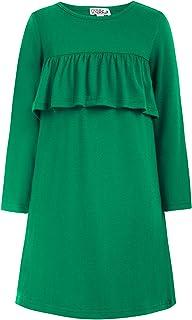فستان Danna Belle طويل الأكمام للفتيات فستان كاجوال بكشكشة على شكل حرف A بلون سادة مقاس 5-12