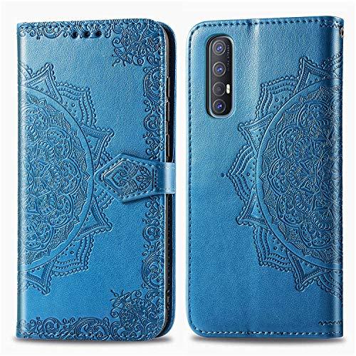 Lomogo Oppo Find X2 Neo Hülle Leder, Schutzhülle Brieftasche mit Kartenfach Klappbar Magnetisch Stoßfest Handyhülle Hülle für Oppo Find X2 Neo 5G - LOSDA021868 Blau