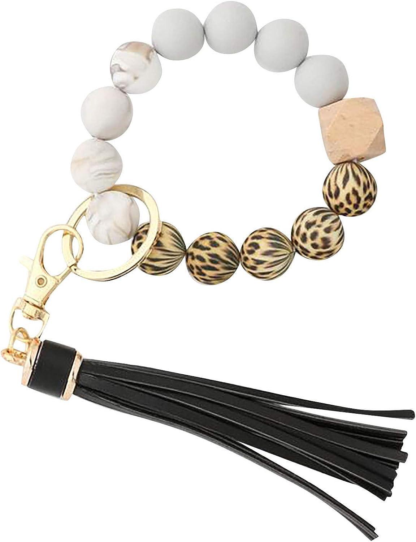 kjhgk Portable Car Keys Ring Bracelet, Women Beaded Keychain Wristlet Keyring W/Tassel