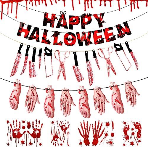 Wishstar Decoracion Halloween Terror, Happy Hallween Banner, Halloween Cuchillo Sangrientas Horror Manos y Pies Rotos Guirnaldas, Pegatina de Ventana de Sangrienta para Halloween Decorativos