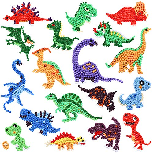 Outus 18 Pieces Diamond Painting Stickers Kit for Boys Girls and Adult Beginners, 5D DIY Dinosaurs Diamond Painting Stickers Paint by Numbers Kits Handmade Art Craft