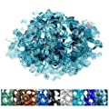 """onlyfire Reflective Fire Glass for Natural or Propane Fire Pit, Fireplace, or Gas Log Sets, 10-Pound (1/4"""", 10LB, Aqua Blue)"""