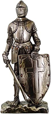 PTC 7 Inch Crusader Knight with Sword and Cross Shield Statue Figurine