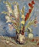 TYLPK Impressions sur Toile giclées Vase avec glaïeuls et Chine Asters Van Gogh Peintures Art Floral Moderne Abstrait Fleurs Photos 30x40cm (11.8x15.7 Pouces) sans Cadre