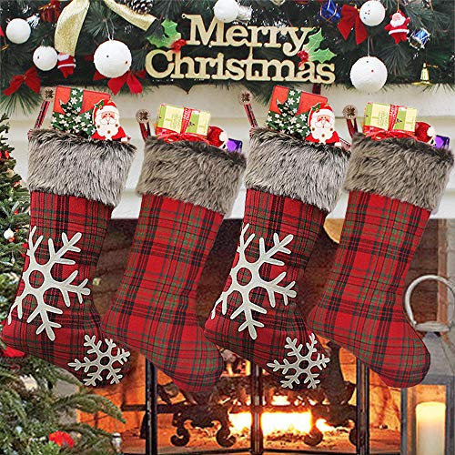 AtRenty Christmas Stockings Large 18 inches 4 Pcs Kits - Xmas Stockings Burlap with Large Plaid Snowflake and Plush Faux Fur Cuff for Family Holiday Party Decorations