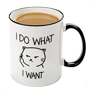 Grumpy Cat Mug-I do what I want cat face - 11 OZ ceramic coffee mug - Unique Gift Idea for Cat Lovers, Perfect Birthday Gifts for Women Rude Sarcastic Cat Meme Cup