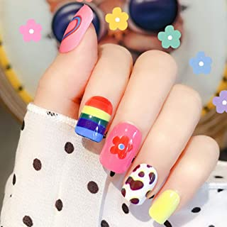 Sethexy Colourful Fake Nails Rainbow Flower Heart Cute Squoval Full Cover Acrylic 24Pcs False Nails for Women and Girls
