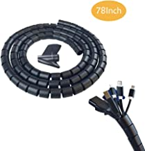 78Inch Cable Sleeve, 0.8 Diameter Flexible Cord Bundler Wire Organizer, Wrap Cable Management System for PC TV Computer Cinema, Black