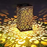 Aerb Farol Solar, Solar Exterior Jardín, Lámpara Colgante LED Luz IP55 Impermeable, Luces de Metal de Jardín Decorativas para Camping Terraza Patio Navidad