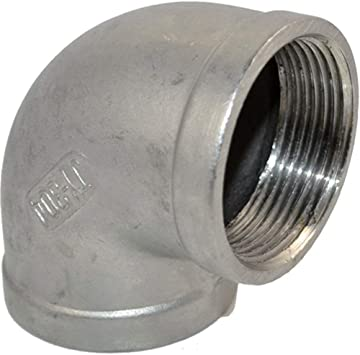 Zerone 1//2 Elbow Pipe Connector 90 Degree Angled Stainless Steel Female Threaded DN15