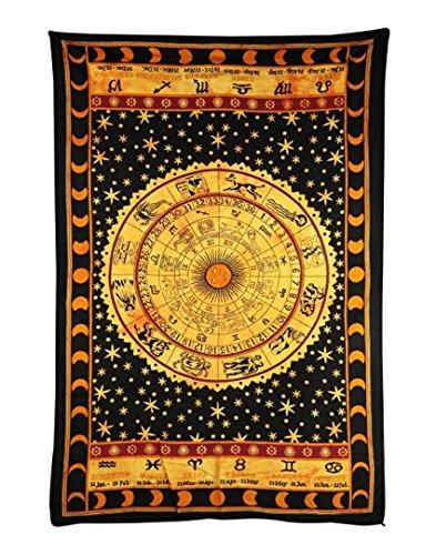 Madhu International Zodiac Mandala Tapestry Hippie Wall Hanging Tapestry Indian Handmade Tapestries Celtic Zodiac Tapestry Wall hanging (Twin(54x82Inches)(140x210cms), Yellow)