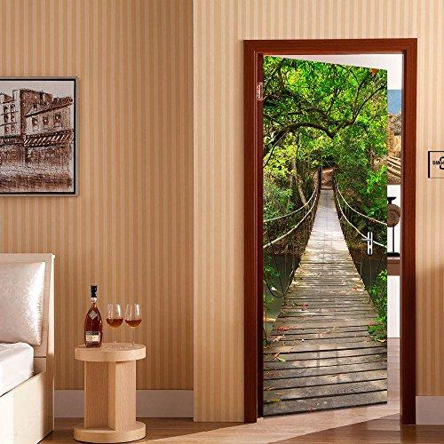 rocwart 3D Tür Türfototapeten Fototapete Tapeten für Wohnzimmer Kids Baby Kinder Abnehmbare Vinyl Zugbrücke Wand Aufkleber art home Dekoration 77x 199,9cm M003