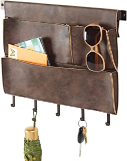 mDesign Decorative Wall Mount Soft Leather Hanging Storage Organizer - Mail Sorter, Letter Holder, Key Rack - for Entryway, Bedroom, Home Office, Dorm Room - 3 Pockets, 5 Hooks, 17.5