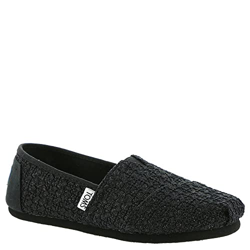TOMS Kids Girls Alpargata (Little Kid/Big Kid) Black Lace Glimmer Shoe