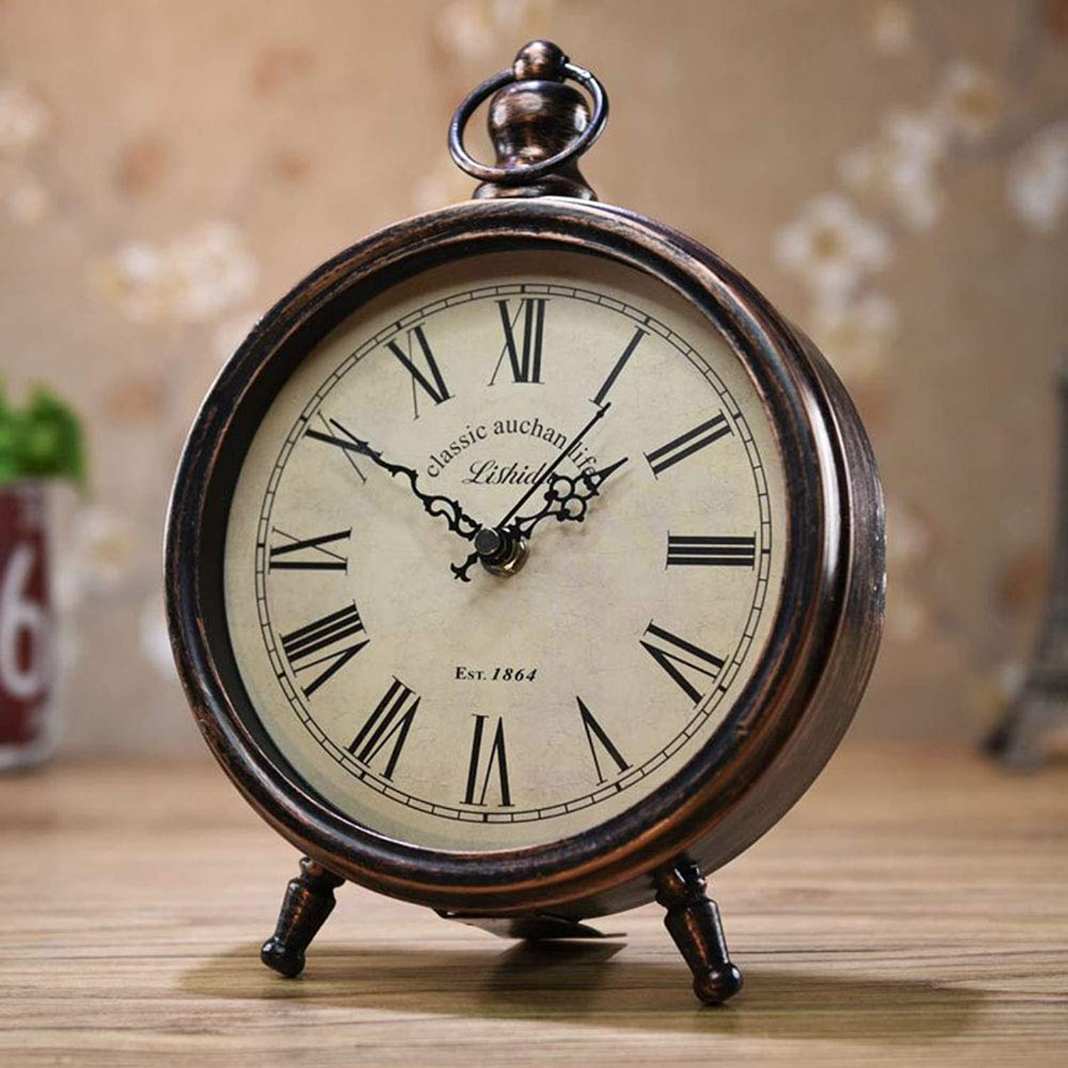 Metal Desktop Clock, Antique Table Clock Silent Sweep Alarm Clock Silent Time Clock Classic Vintage Elegant for Home Decoration Bedroom Office (Style   D)