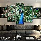 WUHUAGUO 5 Paneles Cuadros En Lienzo Imágenes Decorativas Hermoso Animal Pavo Real Wall Art Decoración del Hogar Impresiones HD Póster 150X80Cm Mural De La Decoración De La Pared