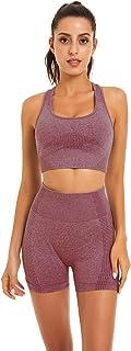 Toplook Women Seamless Yoga Workout Set 2 Piece Outfits Gym Shorts Sports Bra (Wine, Medium)