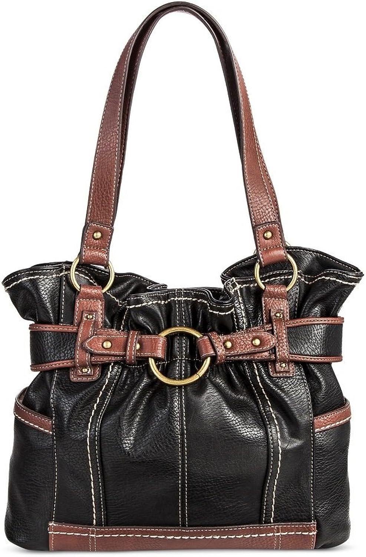 Bolo Women's Faux Leather Tote Handbag w Back Interior Compartments