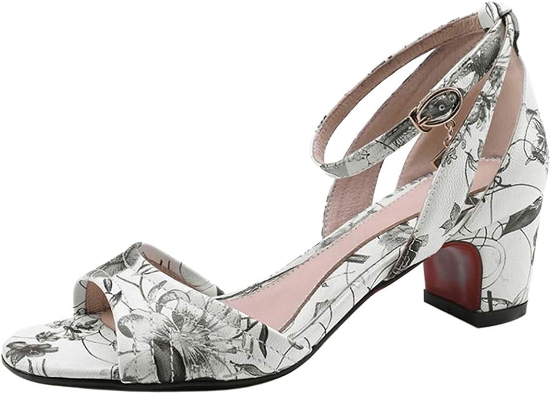 BeiaMina Women Fashion Block Heel Sandals shoes Floral