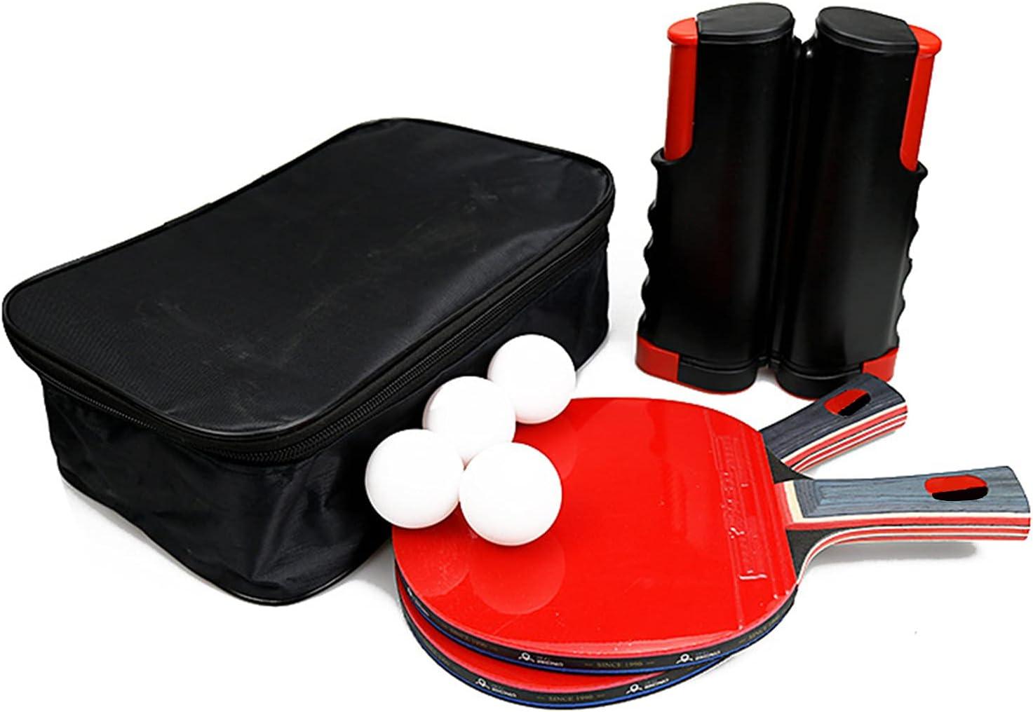 MYRCLMY Beginner Family Racket, Tiro Horizontal, Portable Ping Pong Racket Set Tabla Blade De 2 Handle Ping Pong Paddles + 1 Red Retráctil + 4 Pelotas De Tenis De Mesa