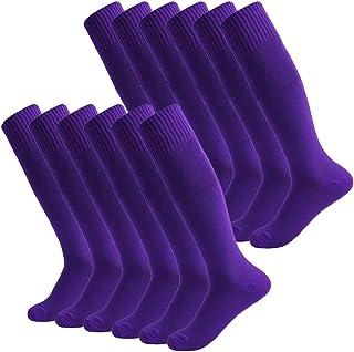 Fasoar Unisex Knee High Sports Football Tube Soccer Socks Pack of 2, 6 or 12