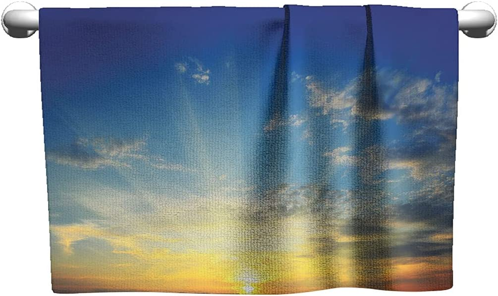 Yellow and Blue Large High order Towel Max 85% OFF Set Above Horizon Ma Beaming Sun The