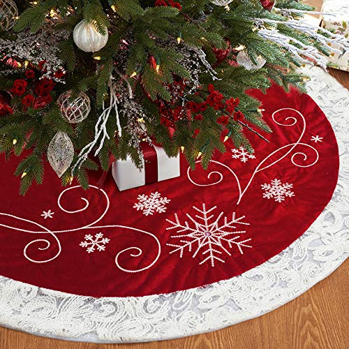 XAMSHOR Red Christmas Tree Skirt 48 Inches Snow Sequin Embroidery with White Trim Border Decor for Xmas Holiday Party Ornaments